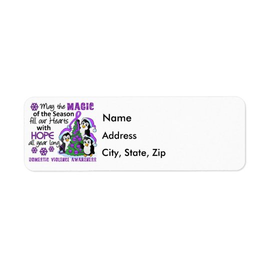 Christmas Penguins Domestic Violence Return Address Label