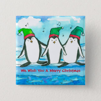 Christmas Penguins Fish Watercolor 2 Inch Square Button