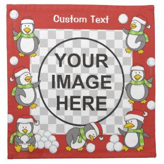 Christmas penguins frame napkin