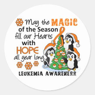 Christmas Penguins Leukemia Round Sticker