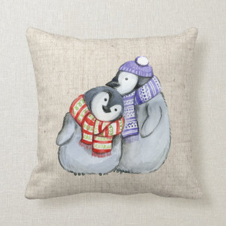 christmas penguins linen look pillow cushion