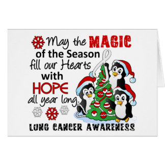 Christmas Penguins Lung Cancer Greeting Card