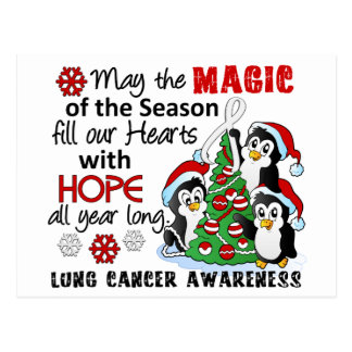 Christmas Penguins Lung Cancer Postcard