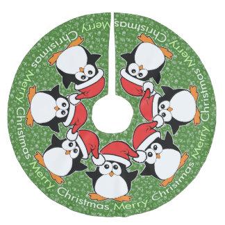 Christmas Penguins Merry Christmas Brushed Polyester Tree Skirt