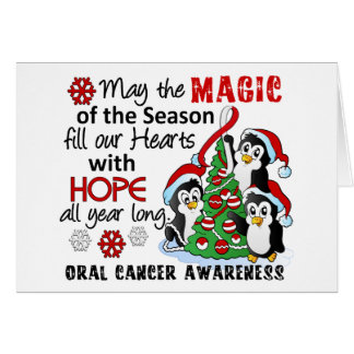 Christmas Penguins Oral Cancer Greeting Card