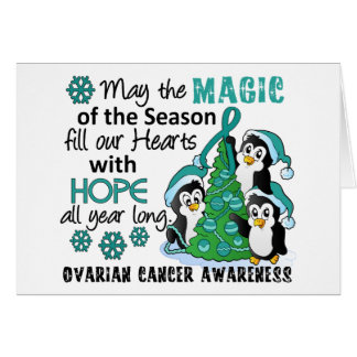 Christmas Penguins Ovarian Cancer Greeting Card