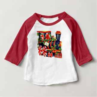 Christmas Peppermint Candy Choo Choo Train Baby T-Shirt