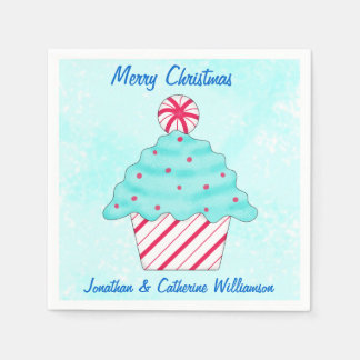 Christmas Peppermint Cupcake Personalized Party Disposable Napkins