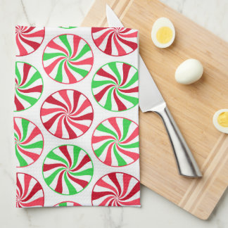 Christmas peppermint pattern kitchen towel