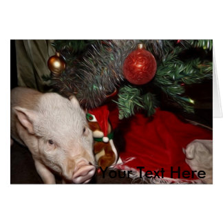 Christmas Personalized Painted Mini Pig Card