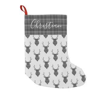 Christmas Personalized Stag Head Grey Tartan Small Christmas Stocking