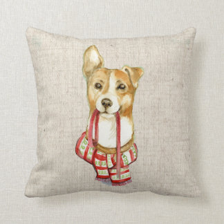 christmas pet dog  linen look pillow cushion