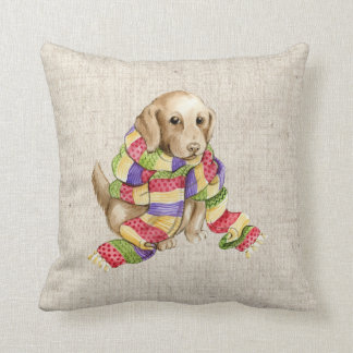 christmas pet dog  linen look pillow cushion 2