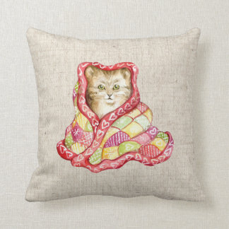 christmas pet kitten cat linen look  cushion