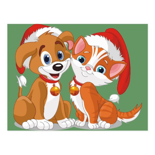 Christmas Pets Postcard
