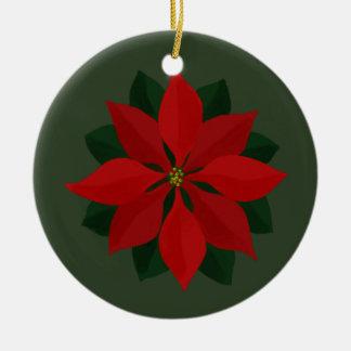 Christmas Photo and Poinsettia Ceramic Ornament