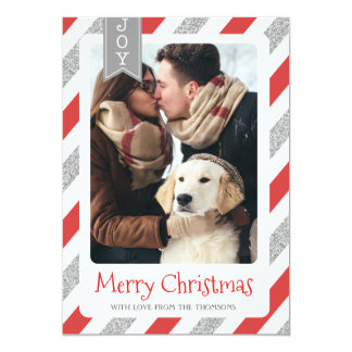 Christmas photo card merry christmas red silver