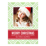 Christmas Photo Card | Red and Green Ikat Pattern Personalized Announcements