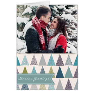 Christmas photo card seasons greetings blue white