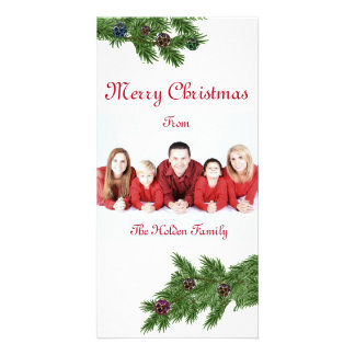 Christmas Photo Card with Fur Tree Branches