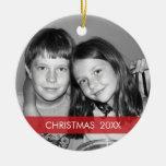 Christmas Photo Frame - Modern Double-Sided Ceramic Round Christmas Ornament