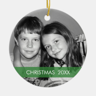Christmas Photo Frame - Modern Round Ceramic Ornament