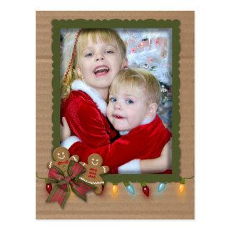 Christmas photo frame on cardboard postcard