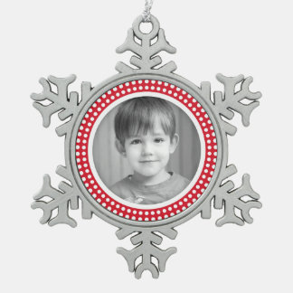 Christmas photo frame white and red dot border pewter snowflake ornament
