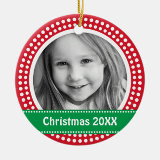 Christmas photo frame white dot snow border on red Double-Sided ceramic round christmas ornament