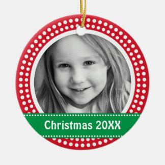 Christmas photo frame white dot snow border on red round ceramic ornament