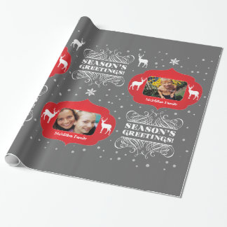 Christmas Photo Gift Season's Greetings Wrapper Wrapping Paper