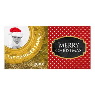 Christmas Photo Greeting | Red Polka Dot Gold Foil Card