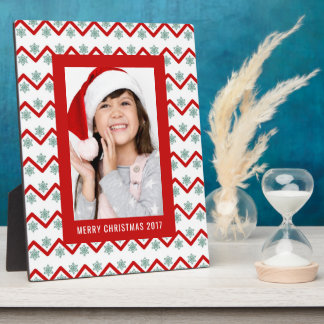 Christmas Photo | Holiday Chevron Snowflake Design Plaque