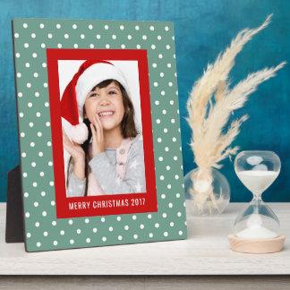 Christmas Photo   Holiday Polka Dot Design Plaque