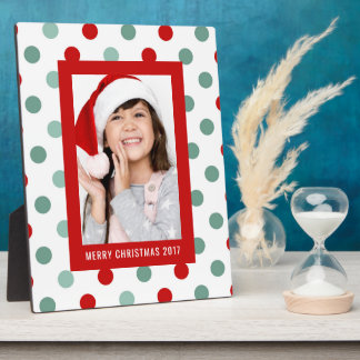Christmas Photo   Holiday Teal & Red Polka Dots Plaque