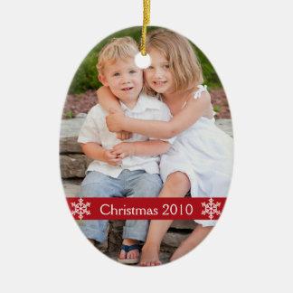 Christmas Photo keepsake Ceramic Oval Ornament