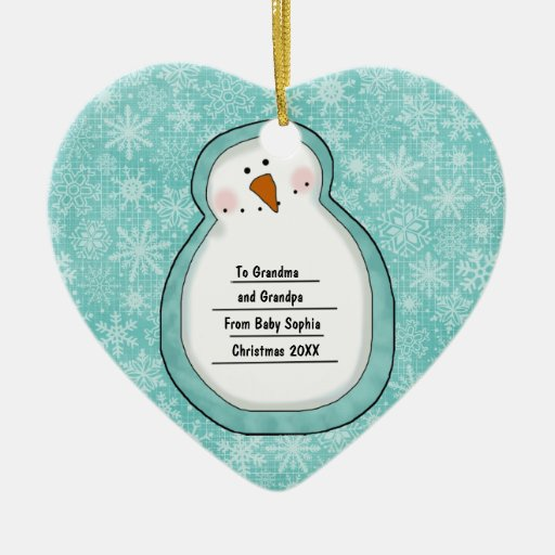 Christmas Photo Snowman Customizable Date and Name Ornament