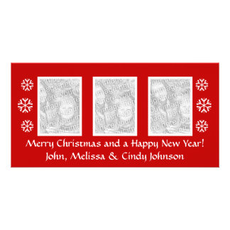 Christmas photocard template for three photos personalized photo card