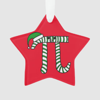 Christmas Pi Cute Green Math Ornament (Red Back)
