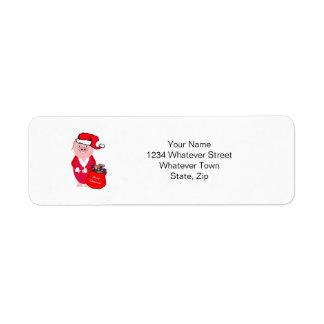 Christmas Pig Return Address Label