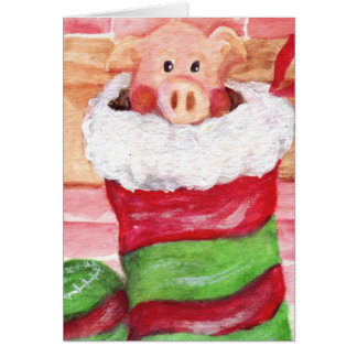 Christmas Piggy in a Stocking Card