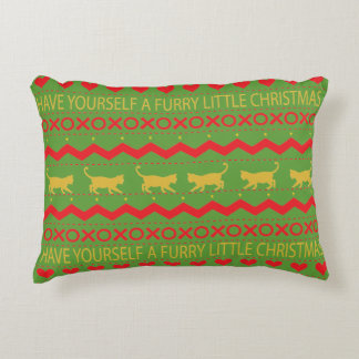 "Christmas Pillow ""Furry Christmas"" Cats"