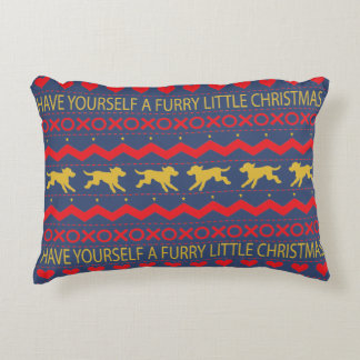 "Christmas Pillow ""Furry Christmas"" Dogs"