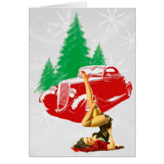 Christmas Pin-Up Girl and Classic Car Card