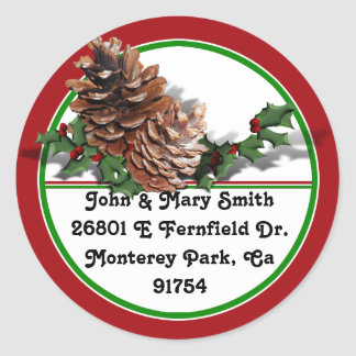 Christmas Pine Cones Classic Round Sticker