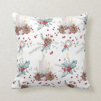 Christmas Pine Cones Holly Berries Candles Throw Pillow