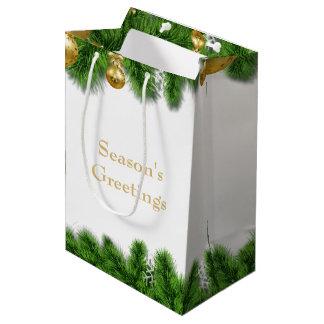 Christmas Pine Garland Gold Christmas Balls Medium Gift Bag