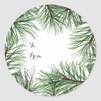 Christmas Pine Round Stickers