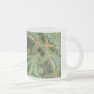Christmas Pine Wreath Mandala 10 Oz Frosted Glass Coffee Mug