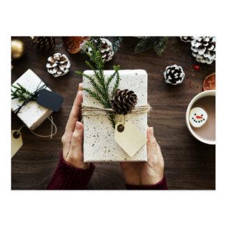 Christmas pinecones cocoa marshmallow gift postcard